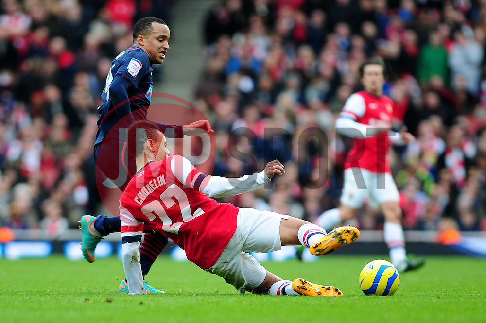 Arsenal's Francis Coquelin tackles Blackburn Rovers' Marcus Olsson - Photo mandatory by-line: Dougie Allward/JMP - Tel: Mobile: 07966 386802 16/02/2013 - SPORT - FOOTBALL - Emirates Stadium - London -  Arsenal V Blackburn Rovers - FA Cup - Fifth Round