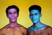 Men in make up. Festival at Udappu village. West Coast.<br /> Sri Lanka.