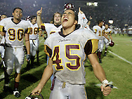 Photo by Alex Jones..Los Fresnos #45 Rod Lee Kirkconnell celebrates the Falcons' win over Weslaco to take the district title on Friday night.