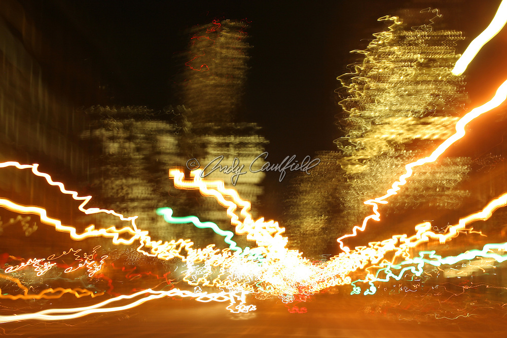 Downtown Boston at night, lights and motion, Boston, MA.