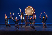 "Members of Portland Taiko perform at Portland Taiko concert ""Three: 3 conversations with Taiko"", Winningstad Theatre, Portland Center for the Performing Arts, Portland, Oregon."