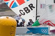 ENGLAND, Weymouth. 30th July 2012. Olympic Games. Elliott 6m. Womens Match Racing. Team GBR vs Team POR. Rita Goncalves (POR) Skipper, Mariana Lobato (POR) Crew, Diana Neves (POR) Crew