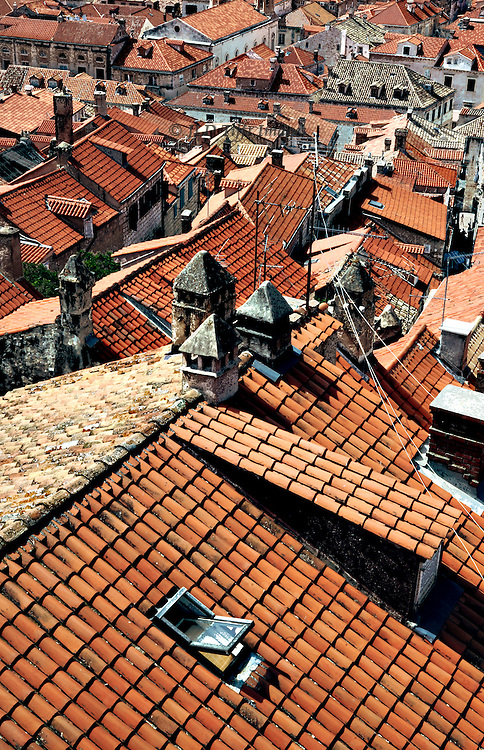 Restored Dubrovnik homes have largely new roofs,made from tiles specially manufactured in Spain by original methods.  Citizens saves many of the original roof tiles, however, and these are used when visible wherever possible, while the new tiles have been set underneath them.