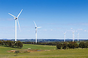 wind turbines from a wind farm in a rural paddock in the countryside near rural Glen Thompson, Victoria, Australia <br />