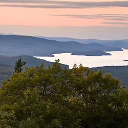 Lake Winnipesauke as seen from Caverly Mountain in New Durham, New Hampshire.