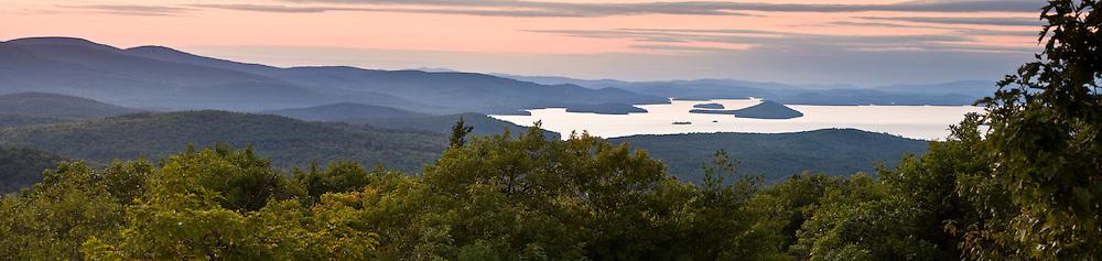 Lake Winnipesauke as seen from Caverly Mountain in New Durham, New Hampshire.