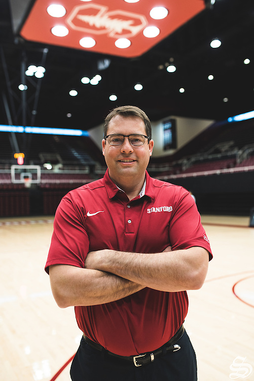 Coach Jerod Haase in Maples Pavilion. Photo by Ryan Jae.