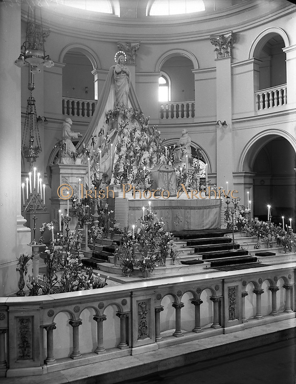 11/02/1953<br /> 02/11/1953<br /> 11 February 1953<br /> Franciscan Church, Merchant's Quay, High Altar decorated for the Feast of Our Lady of Lourdes.