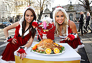Repro Free: 04/12/2012.Dustin took to the streets in protest today as Betfair prepares to give away 150 Irish turkeys in their annual 'Beat the Budget' giveaway. Models Daniella Moyles and Tiffany Stanley were on hand to ensure that everyone's fowl friend doesn't scupper the company's plan to give the birds away from a braded butchers shop on Lower Camden Street tomorrow. Dustin has vowed to step up his protestations and will be taking the fight to Camden Street tomorrow. Pic Andres Poveda.
