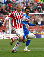 Photo: Dave Linney.<br />Stoke City v Birmingham City. The FA Cup. 19/02/2006.<br />The race is on forStoke's  Luke Chadwick (L) Jermaine Pennant