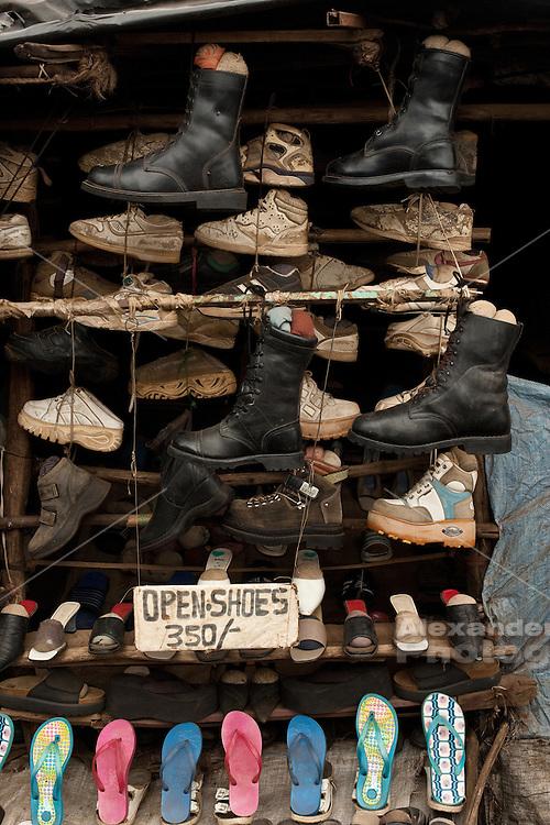 Nairobi, June 2010 -  shoe store in the Kibera slum.