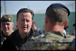 The Prime Minister David Cameron talks to British Troops at Camp Bastion on a visit to Afghanistan. Monday, 16th December 2013. Picture by Andrew Parsons / i-Images