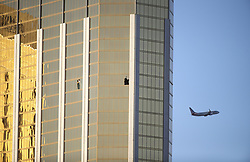 LAS VEGAS, Oct. 4, 2017  Photo taken on Oct. 3, 2017 shows the broken windows of Mandalay Bay Hotel in Las Vegas, the United States. At least 59 people were killed and 527 others wounded after a gunman opened fire Sunday on a concert in Las Vegas in the U.S. state of Nevada, the deadliest mass shooting in modern U.S. history.  zjy) (Credit Image: © Wang Ying/Xinhua via ZUMA Wire)