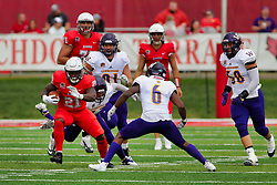 NORMAL, IL - October 06: Markel Smith stutter steps to avoid Xavier Rowe during a college football game between the ISU (Illinois State University) Redbirds and the Western Illinois Leathernecks on October 06 2018 at Hancock Stadium in Normal, IL. (Photo by Alan Look)