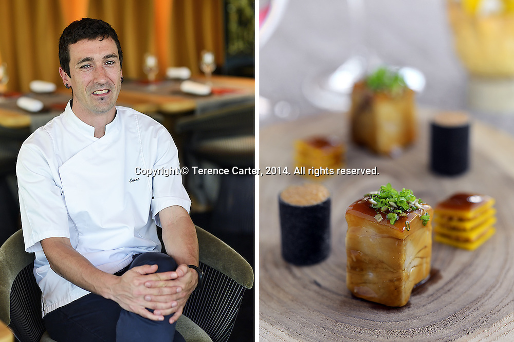Executive Chef Eneko Atxa of Aziamendi at Iniala (left), Suckling Pig, Pumpkin Noodles and Dashi, (right) Phuket, Thailand. Copyright 2014 Terence Carter / Grantourismo. All Rights Reserved.