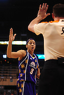 June 4, 2010; Phoenix, AZ, USA; Los Angeles Sparks foward Candace Parker reacts to a call during the first half in at US Airways Center.  Mandatory Credit: Jennifer Stewart-US PRESSWIRE
