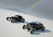 Image of two black hot rod racers at Speed Week 2018 at the Bonneville Salt Flats, Utah, American Southwest