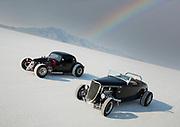 Image of two black hot rod racers at Speed Week 2018 at the Bonneville Salt Flats, Utah, American Southwest