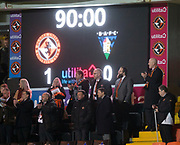 12th January 2019, Tannadice Park, Dundee, Scotland; Scottish Championship football, Dundee United versus Dunfermline Athletic; Dundee United new owner Mark Ogren applauds his team at the end of the match
