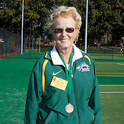 Peg Hoysted, Australia, Semi Finalist, 75 Womens Singles competition during the 2009 ITF Super-Seniors World Team and Individual Championships at Perth, Western Australia, between 2-15th November, 2009