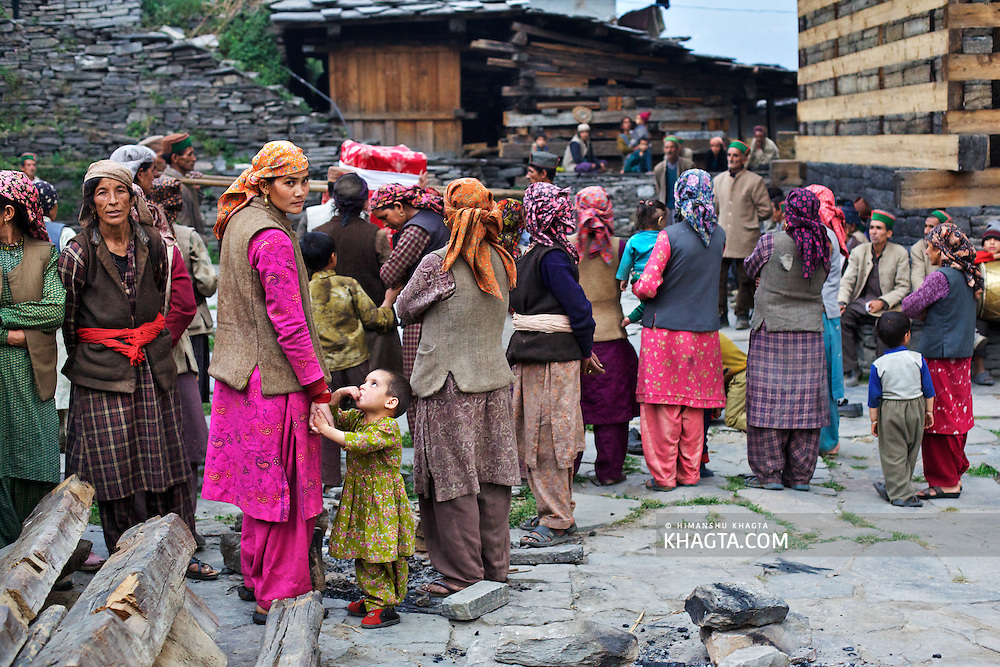 A group of village females gather in a local event in the remote Himalayan village of Kwar in Rohru, Shimla.