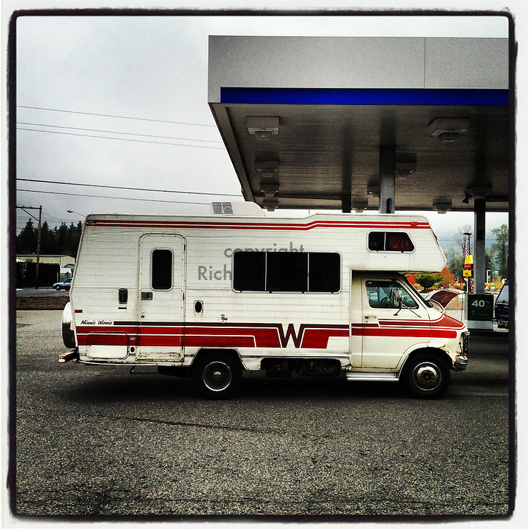 2012 October 09 - A Winnebago RV camper at a gas station in Washington, USA. Taken/edited with Instagram App for Apple iPhone. By Richard Walker