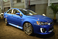 A Mitsubishi Motors 2016 Lancer 2.4 GT, Octane Blue Exterior, is on display at the New York International Auto Show 2016, at the Jacob Javits Center. This was Press Preview Day one of NYIAS, and the Trade Show will be open to the public for ten days, March 25th through April 3rd.
