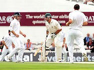 Photo © ANDREW FOSKER / SPORTZPICS 2008 - South Africa captain Graeme Smith suffers for his art as he takes a painful direct hit to his box area during Steve Harmison 's (R)  first over  - England v South Africa - 07/08/08 - Fourth nPower Test Match -  Day 1 - The Brit Oval - London - UK - All rights reserved