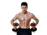one caucasian man exercising fitness weights exercices isolated on white background