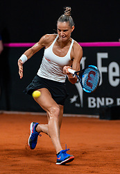 Arantxa Rus in action in the match against Aljaksandra Sasnovitsj in the Fed Cup qualifier against Belarus in Sportcampus Zuiderpark, The Hague, Netherlands