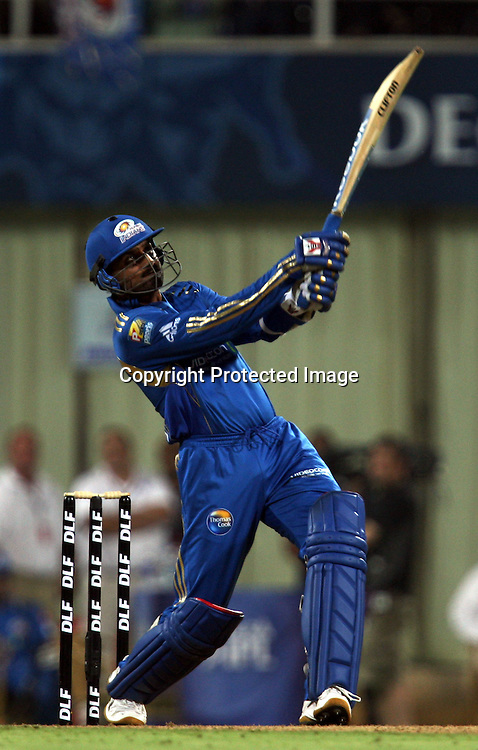 Mumbai Indians Batsman Harbhajan Singh Hit The Shot Against Deccan Chargers During The Deccan Chargers vs Mumbai Indians, 25th Twenty20 match Indian Premier League- 2009/10 season Played at Dr DY Patil Sports Academy, Mumbai 28 March 2010 - day/night (20-over match)