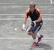 Arthur Peller, from Cincinnati competes in the second set of the finals in the 41st Weston Memorial Tennis Tournament at the Virginia Hollinger Memorial Tennis Club, Monday, May 26, 2008.
