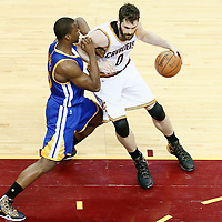 10 June 2016: Golden State Warriors forward Harrison Barnes (40) defends on Cleveland Cavaliers forward Kevin Love (0) during the Golden State Warriors 108-97 victory over the Cleveland Cavaliers, during Game Four of the 2016 NBA Finals at the Quicken Loans Arena, Cleveland, Ohio, USA.