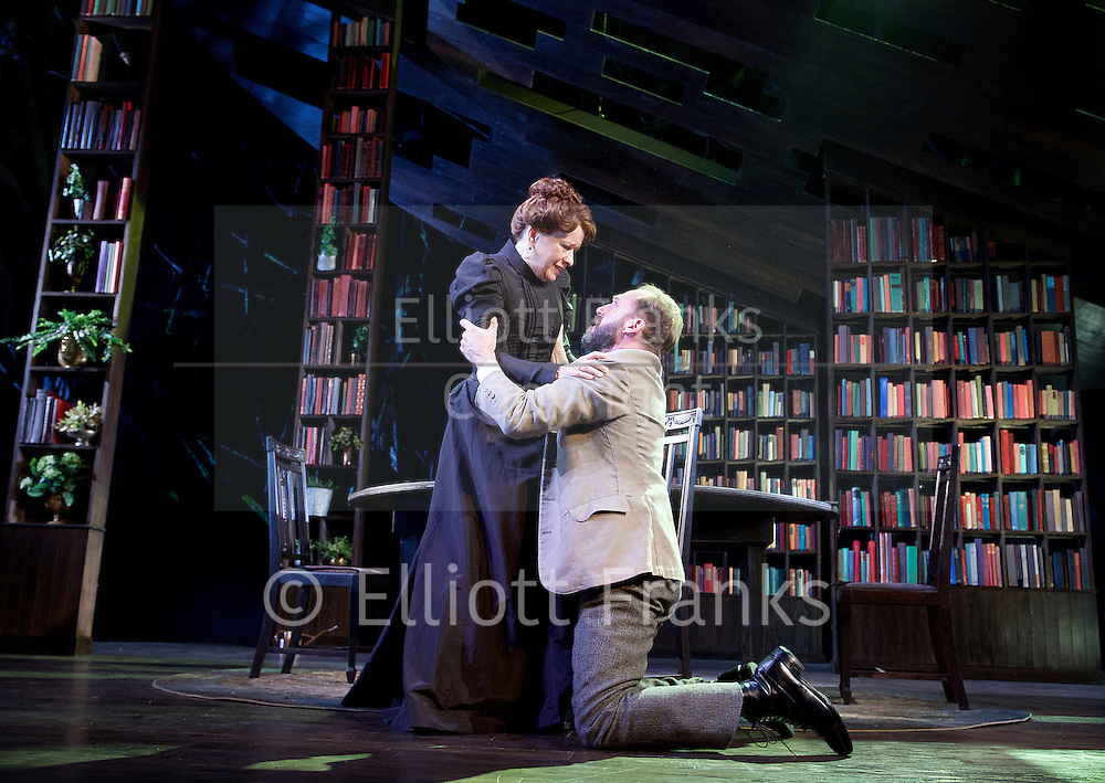 The Master Builder <br /> by Henrik Ibsen adapted by David Hare<br /> at The Old Vic Theatre, London, Great Britain <br /> press photocall <br /> 29th January 2016 <br /> <br /> Ralph Fiennes as Halvard Solness<br /> <br /> Linda Emond as Aline Solness<br /> <br /> Sarah Snook as Hilde Wangel<br /> <br /> <br /> <br /> <br /> Photograph by Elliott Franks <br /> Image licensed to Elliott Franks Photography Services