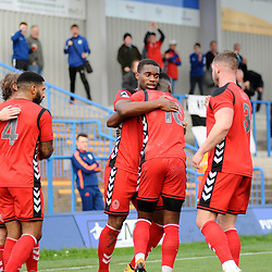 TELFORD COPYRIGHT MIKE SHERIDAN 20/10/2018 - GOAL. Andre Brown of AFC Telford celebrates after scoring to make it 1-1 during the Vanarama Conference North fixture between Curzon Ashton and AFC Telford United at the Tameside Stadium.