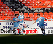 Chris Mitchell celebrates after scoring the wining goal for Monifieth from a last minute penalty - U16 Dundee United Cup Final (sponsored by Arab Trust) Monifieth High School (light blue and white) v Grove Academy (blue)  - Schools Cup Final at Tanandice<br /> <br />  - &copy; David Young - www.davidyoungphoto.co.uk - email: davidyoungphoto@gmail.com