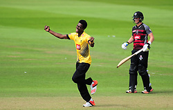 Jofra Archer of Sussex celebrates the wicket of Jim Allenby.    - Mandatory by-line: Alex Davidson/JMP - 30/07/2016 - CRICKET - Cooper Associates County Ground - Taunton, United Kingdom - Somerset v Sussex - Royal London One Day