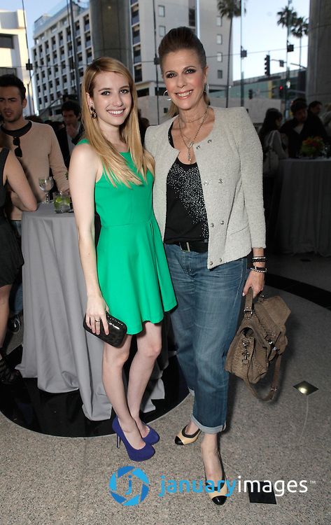 """BEVERLY HILLS, CA - JUNE 06:  Emma Roberts and Rita Wilson attend a Fox Searchlight screening Of """"The Art Of Getting By"""" at Clarity Theater on June 6, 2011 in Beverly Hills, California.  (Photo by Todd Williamson/WireImage)"""