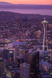 North America, United States, Washington, Seattle. An overhead view of downtown Seattle at sunset, looking northeast toward Lake Washington.  From Sky View Observatory.