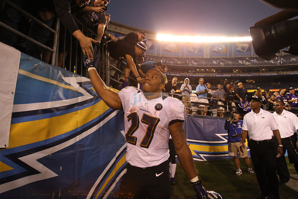 Baltimore Ravens running back Ray Rice (27) looks on against the San Diego Chargers during an NFL game on Sunday, November 25, 2012 in San Diego, CA.  (Photo by Jed Jacobsohn)