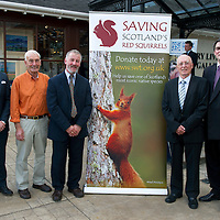 FREE TO USE PHOTOGRAPH....The House of Bruar Helping Scottish Wildlife Trust's Saving Scotland's Red Squirrels Campaign<br /> Pictured from left, Tom Birkbeck House of Bruar Director of Menswear, sculpter Eddie Hallam, Ken Neil Project Officer Tayside Saving Scotland's Red Squirrel's, Alan Bantick Chairman of SWT and Patrick Birkbeck Managing Director House of Bruar.<br /> For further info see press release from Greg Tinker at Scottish Wildlife Trust<br /> Picture by Graeme Hart.<br /> Copyright Perthshire Picture Agency<br /> Tel: 01738 623350  Mobile: 07990 594431