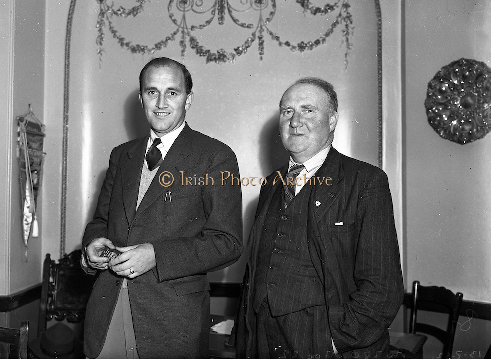 13/08/1952<br /> 08/13/1952<br /> 13 August 1952<br /> F.A.I. members at 80 Merrion Square, Dublin. E.J. O'Connor, F.A.I. (Transport) and Andy Dolan (Sligo Rovers).