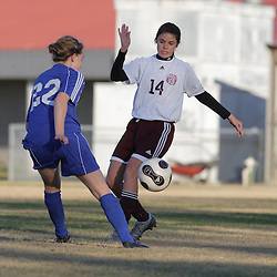 2 December 2008: St. Thomas Aquinas  Carmen Brothers (#14) during the St. Thomas Lady Falcons 5-2 loss to Country Day in a non-district soccer match at Falcons Soccer Field in Hammond, LA.