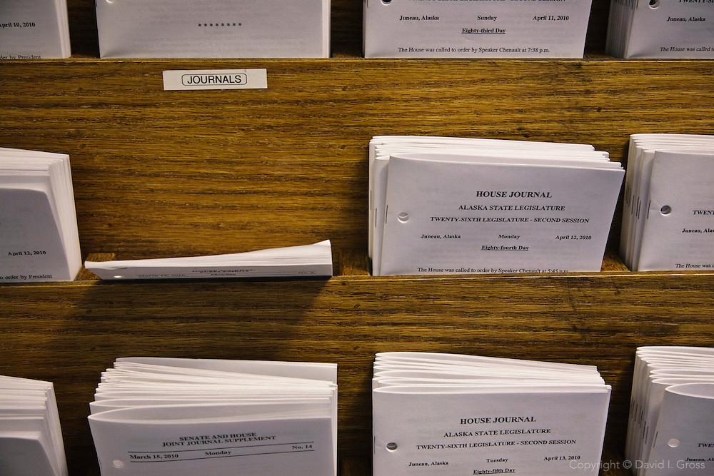 Legislative journals in the Alaska State Legislature building.