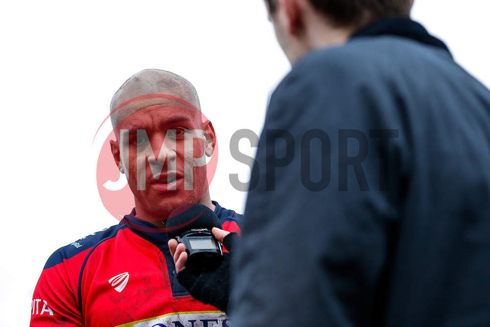 Bristol Rugby Winger Tom Varndell does media after Bristol Rugby win the game 17-36 - Mandatory byline: Rogan Thomson/JMP - 06/02/2016 - RUGBY UNION - Clifton Lane - Rotherham, England - Rotherham Titans v Bristol Rugby - Greene King IPA Championship.