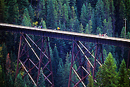 Bicyclists on train trestle in the Bitterroot Mountains. Hiwatha Rails to Trails bicycle route. Benewah County, North Idaho