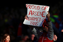 Arsenal fans rise above the protest and stand proud of Arsenal Manager Arsene Wenger - Mandatory byline: Jason Brown/JMP - 07966386802 - 30/04/2016 - FOOTBALL - Emirates Stadium - London, England - Arsenal v Norwich City - Barclays Premier League