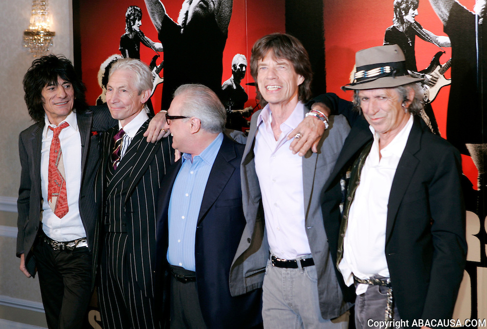 Ronnie Wood, Charlie Watts, Martin Scorsese, Mick Jagger and Keith Richards pose at the rolling Stones ?Shine A Light? movie premiere press conference at the New York Palace Hotel in New York City, USA on March 30, 2008.