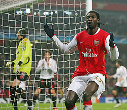 LONDON, ENGLAND - Wednesday, February 20, 2008 : Arsenal's Emmanuel Adebayor shows his dejection after a miss in the last minute against AC Milan during the UEFA Champions 1st Knockout Round, 1st Leg match at The Emirates Stadium. (Photo by Chris Ratcliffe/Propaganda)