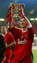 CARDIFF, WALES - Sunday, March 2, 2003: Liverpool's Vladimir Smicer celebrates his side's 2-0 victory over Manchester United during the Football League Cup Final at the Millennium Stadium. (Pic by David Rawcliffe/Propaganda)